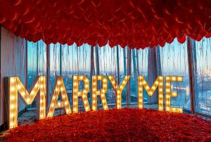 Marry me light up sign balloons