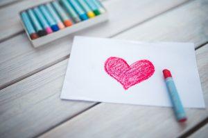 Heart drawing crayon