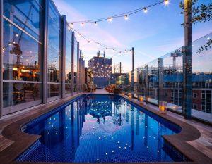 London Venues pool sunset