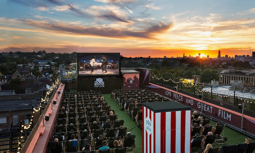 Rooftop Cinema Film Club at sunset for Belt and Braces PR at Bussey Building, Peckham, London