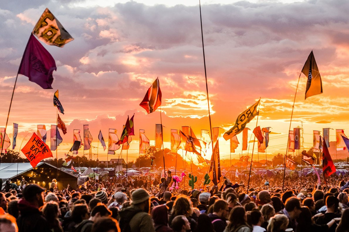 glastonbury event sunset