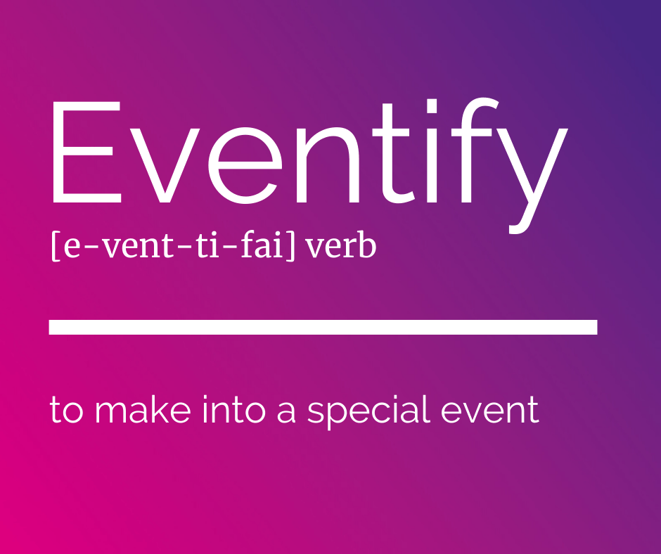 Eventify Dictionary Description with ombre background